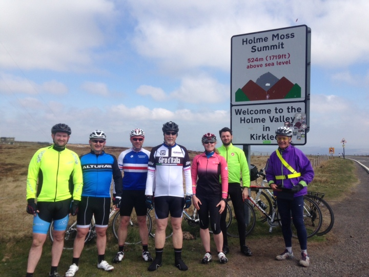 Allez Prestwich April riders on Holme Moss.